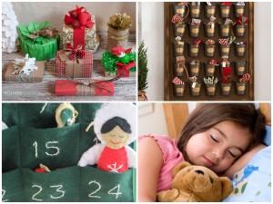 foto con regali pieni di decorazioni,calendari dell'avvento tattili, bimba che riposa serena