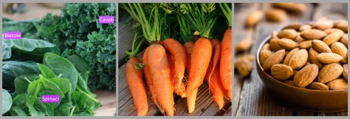 fotografie verdure a foglia verde, carote, mandorle